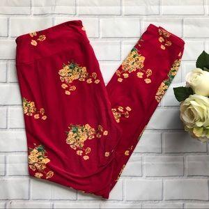 LuLaRoe TC Magenta Floral Print Leggings